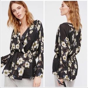 Free People Tuscan Dreams Black Floral Tunic Small